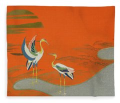 Birds At Sunset On The Lake Fleece Blanket