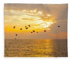 Birds In Lake Erie Sunset Fleece Blanket