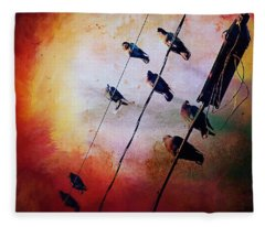 Birds On A Wire Fleece Blanket