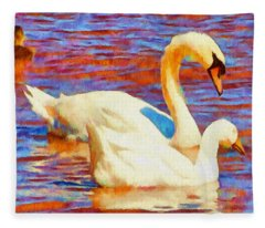 Birds On The Lake Fleece Blanket