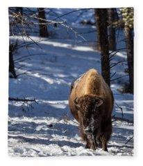 Bison In Winter Fleece Blanket