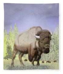 Bison On The Range Fleece Blanket