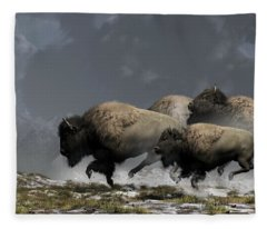 Bison Stampede Fleece Blanket