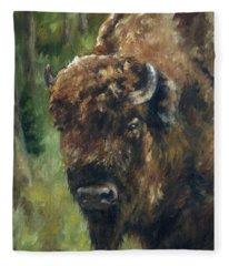Bison Study - Zero Three Fleece Blanket