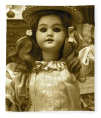 Bisque Antique Doll With Chapeau Fleece Blanket