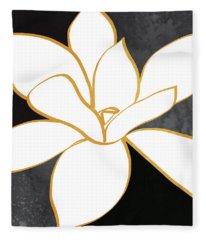Black And Gold Magnolia- Floral Art Fleece Blanket