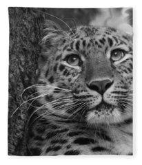 Black And White Amur Leopard Fleece Blanket
