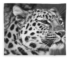 Black And White - Amur Leopard Portrait Fleece Blanket
