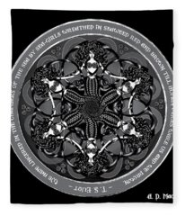 Black And White Gothic Celtic Mermaids Fleece Blanket