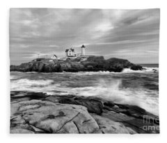 Black And White Painted Seascape Fleece Blanket
