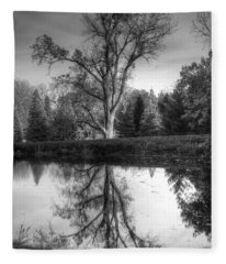 Black And White Reflections Fleece Blanket