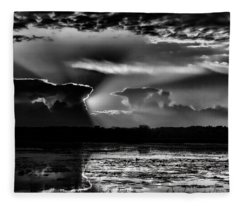 Black And White Sunset Over The Mead Wildlife Area Fleece Blanket
