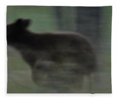 Black Bear Cub Running Fleece Blanket