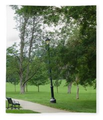 Black Bench And Lightpost Fleece Blanket