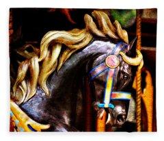 Black Carousel Horse Fleece Blanket