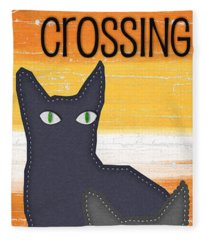 Black Cat Crossing Fleece Blanket