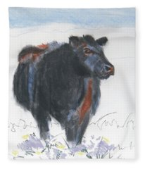 Black Cow Drawing Fleece Blanket
