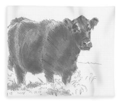 Black Cow Pencil Sketch Fleece Blanket