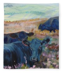 Black Cows On Dartmoor Fleece Blanket