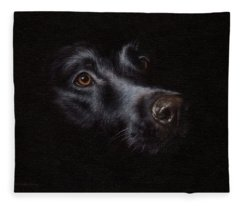 Black Labrador Painting Fleece Blanket