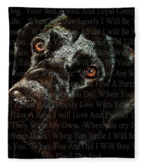 Black Labrador Retriever Dog Art - I Am Dog Fleece Blanket