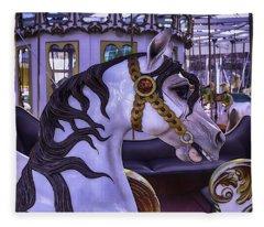 Black Mane Carrsoul Horse Fleece Blanket