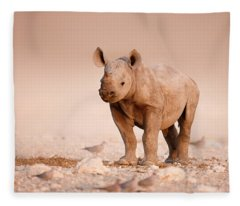 Black Rhinoceros Baby Fleece Blanket