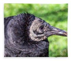 Black Vulture Waiting For Prey Fleece Blanket