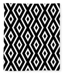 Black And White Pattern Fleece Blanket