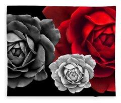 Black White Red Roses Abstract Fleece Blanket