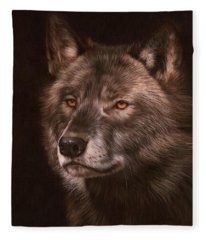 Black Wolf Fleece Blanket