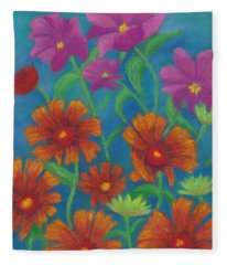 Blanket Flowers And Cosmos Fleece Blanket