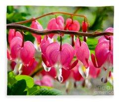 Bleeding Heart Flowers Fleece Blanket