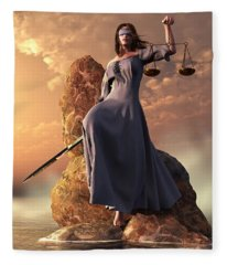 Blind Justice With Scales And Sword Fleece Blanket