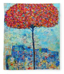 Blooming Beyond Known Skies - The Tree Of Life - Abstract Contemporary Original Oil Painting Fleece Blanket