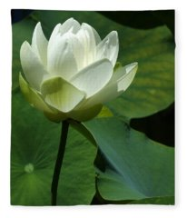 Blooming White Lotus Fleece Blanket