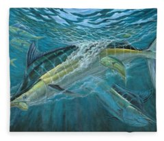 Blue And Mahi Mahi Underwater Fleece Blanket