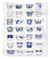 Blue And White Teacups Collage Fleece Blanket