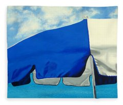 Blue Beach Umbrellas 1 Fleece Blanket