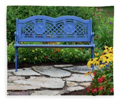 Blue Bench And Stone Path In A Flower Fleece Blanket