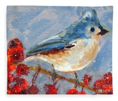 Blue Bird In Winter - Tuft Titmouse Modern Impressionist Art Fleece Blanket