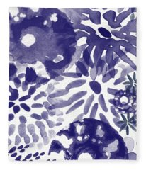 Blue Bouquet- Contemporary Abstract Floral Art Fleece Blanket