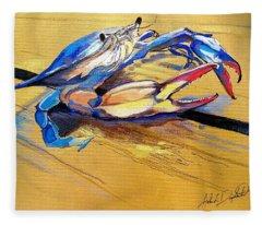 Blue Crabbie  Fleece Blanket