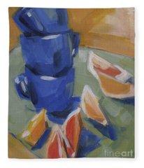 Blue Cups And Citrus Fleece Blanket