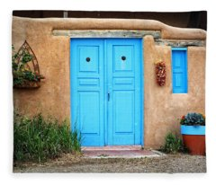 Blue Doors Of Taos Fleece Blanket