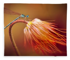 Blue Dragonfly On A Dry Flower Fleece Blanket
