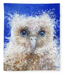 Blue Eyed Owl Painting Fleece Blanket