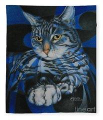 Blue Feline Geometry Fleece Blanket