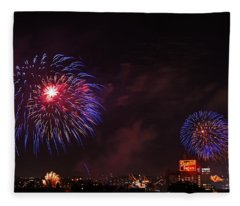 Blue Fireworks Over Domino Sugar Fleece Blanket