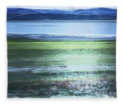 Blue Green Landscape Fleece Blanket